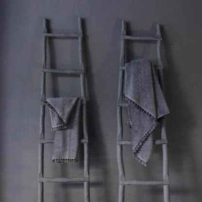 grey bath towel grey pompoms