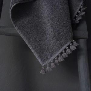 grey bath linen grey pompoms zoom