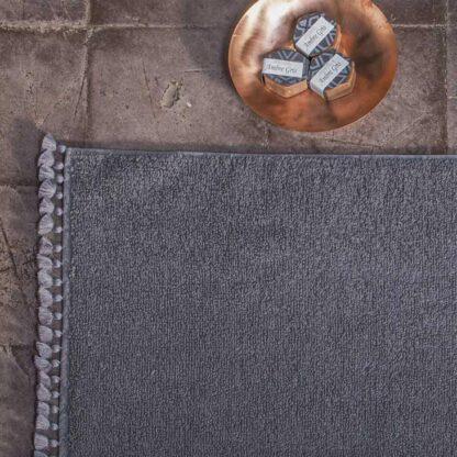 grey bath mat pompoms handmade