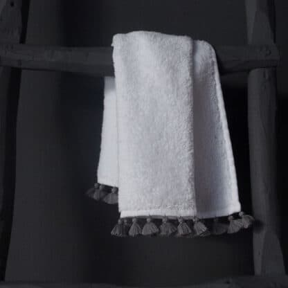 hign end bath towel handmade grey pompoms