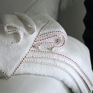 Dark red hand-embroidered running stitch luxury white bath towels