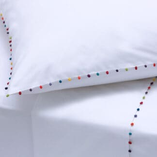 AYA bed linen with trimmings white poplin combed cotton