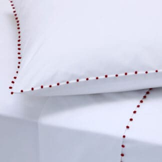 buy white bed linen with red trimmings