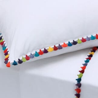 luxury bed linen with pompoms ilias sol