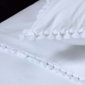buy Bed linen with embroidered pompoms in white color handmade, ILIAS