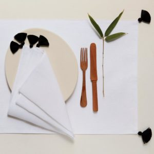 table linen black pompoms 1