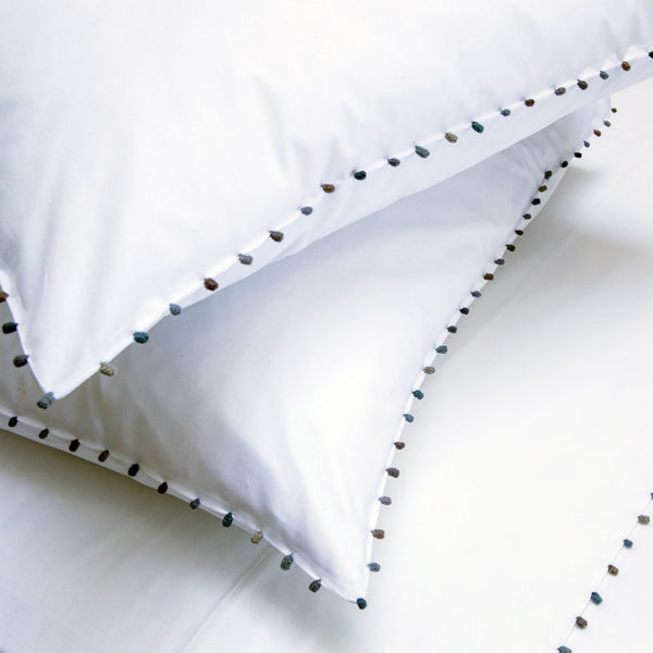 linge de lit coton peigné passementerie