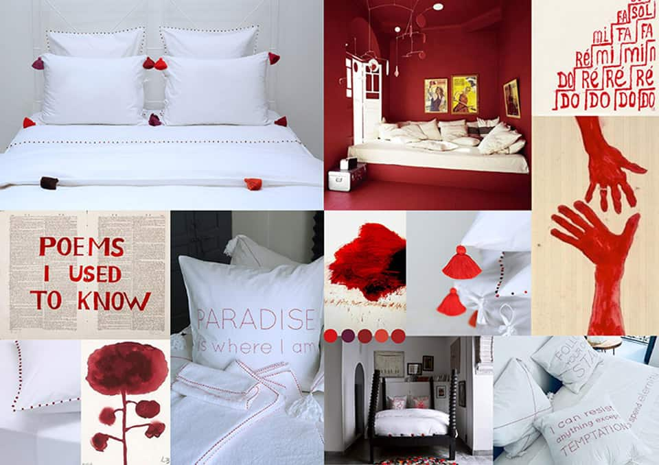 white and red bed linen