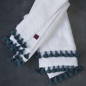 Handmade blue-grey pompoms Lamu bath linen