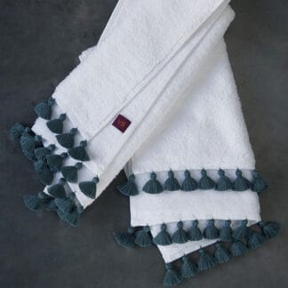 Handmade blue-grey pompoms Lamu bath linen