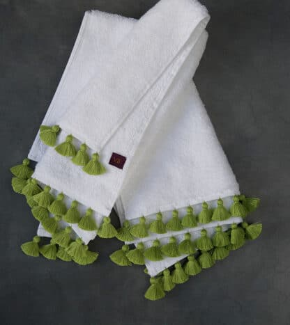buy white terry towel green pompoms