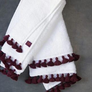 pompons prune serviette de bain haut de gamme éponge blanche
