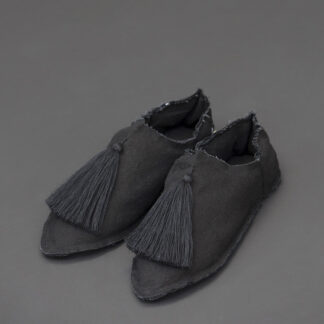 black soft slippers inspired by moroccan babouches