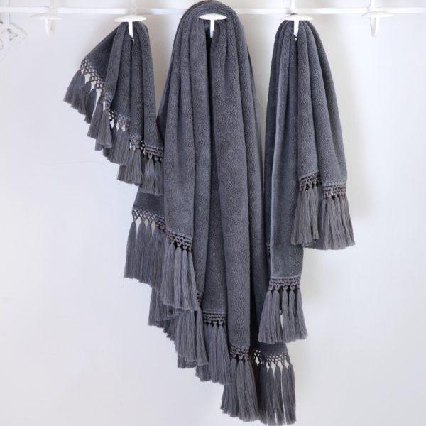 serviette de bain éponge grise