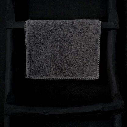 serviette invité éponge gris anthracite broderie noire