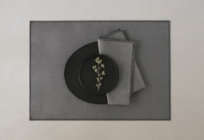 grey table linen Trass black embroidery by Valerie Barkowski