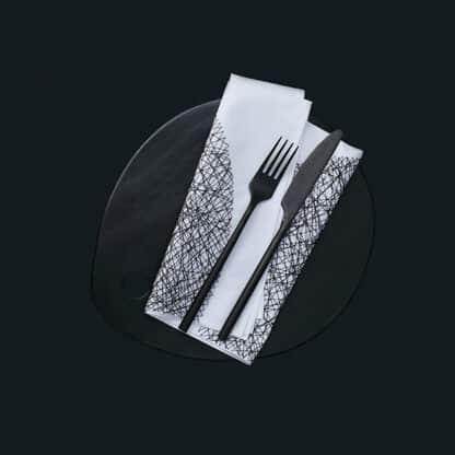 linge de table DOTS broderie noire
